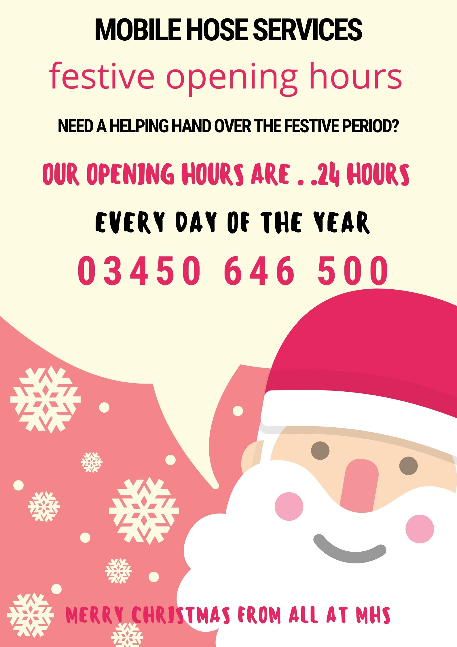 Christmas Period Opening Hours